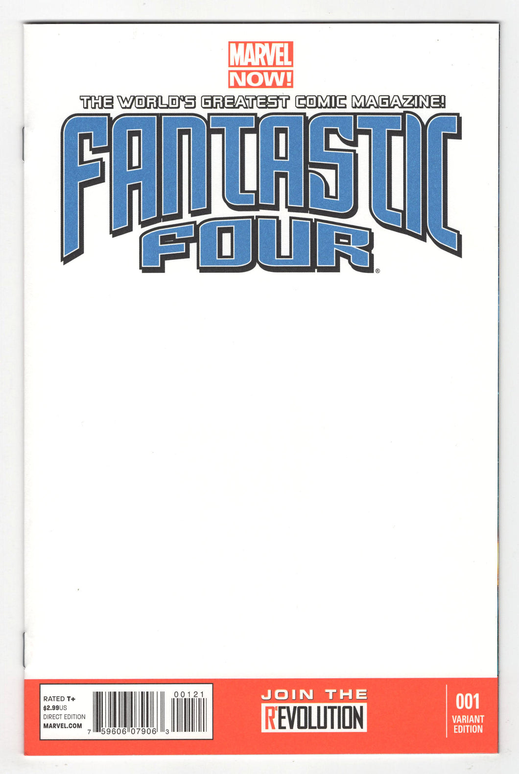 Fantastic Four #1 Blank Sketch Variant Cover (2012) Front