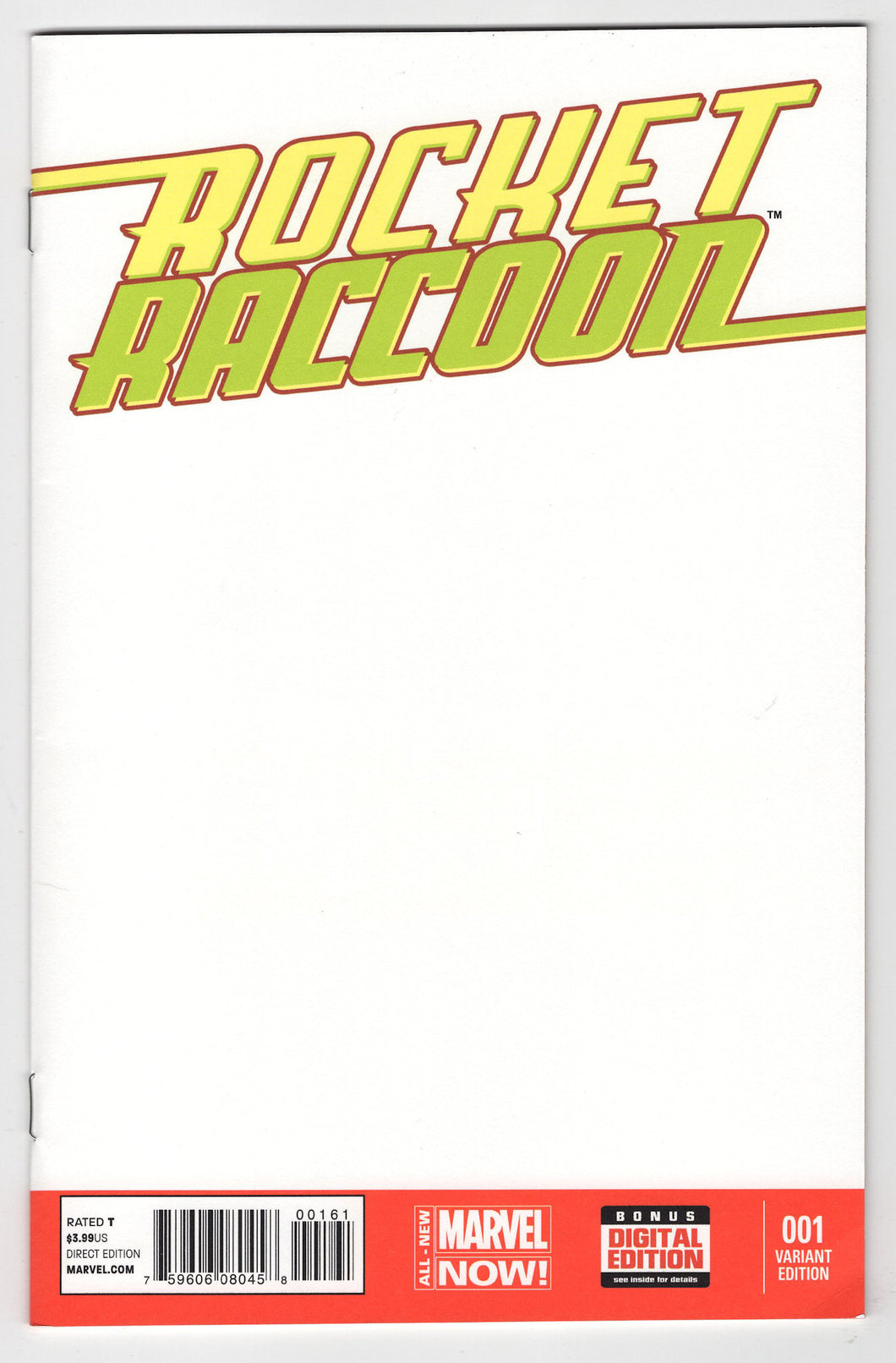 Rocket Raccoon #1 Blank Sketch Variant Cover Front