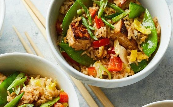 Gluten Free Fried Rice With Peppers And Tofu