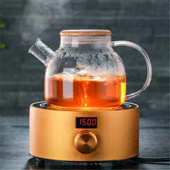 Glass Tea Kettle & Teapot With Lid, Blossoming Teapot