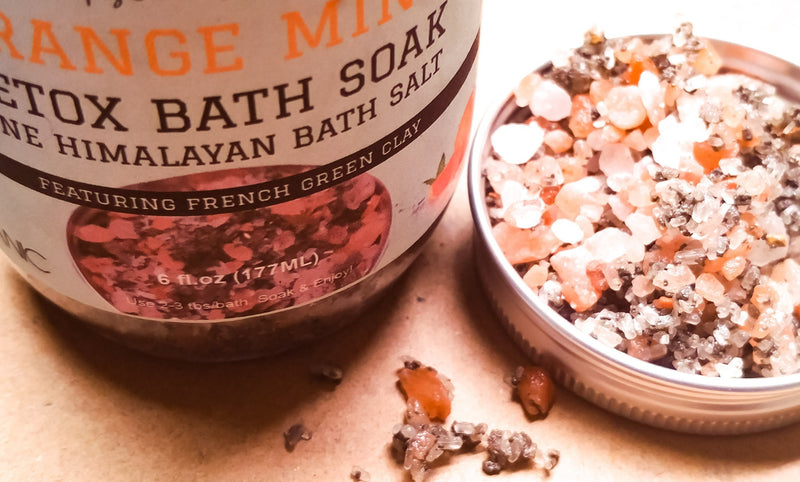 orange mint luxury bathing salt soak with clay and organic ingredients