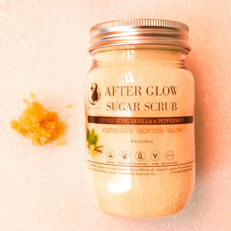Afterglow sugar scrub with shimmer