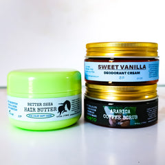 Three piece organic skincare and hair kit