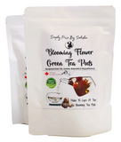blooming tea white pouch, 30 pots of tea, 100% Canadian, Jasmine, amaranth and chrysanthemum with green tea