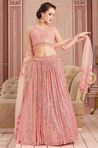 Mirror Work Peach Indian Lehenga Choli Designs In Sequins SF3235YDS