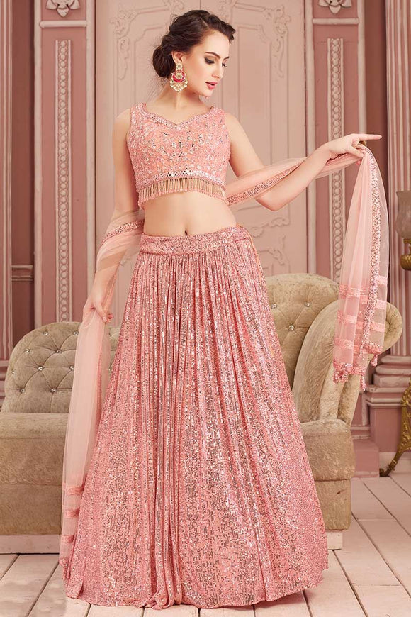 Mirror Work Peach Indian Lehenga Choli Designs In Sequins SF3235YDS - Siya Fashions