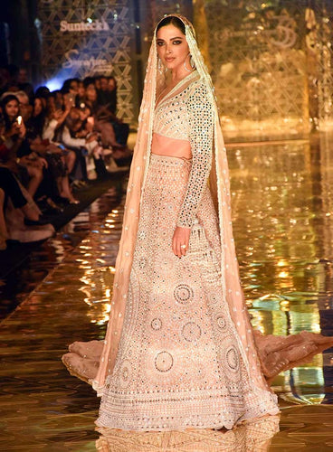 Bollywood Reception Wedding Ivory Lehenga Set SFINS255SD