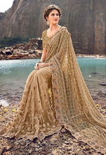 Load image into Gallery viewer, Wedding Saree Beige Net Pearl Work SFYDS3240 - Siya Fashions