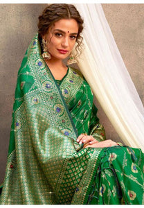 Upraised Green Banarasi Silk Saree Influential Weaving Work YDS1035