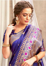 Load image into Gallery viewer, Upraised Blue Banarasi Silk Saree Influential Weaving Work YDS1034