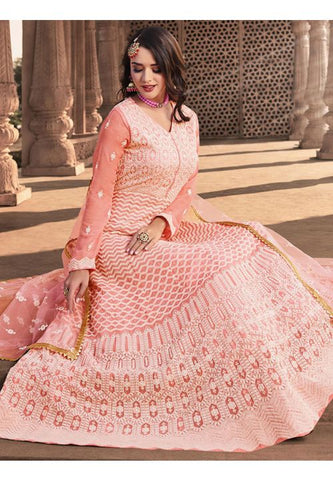 Invigorating Peach Readymade Anarkali Gown SFLA892