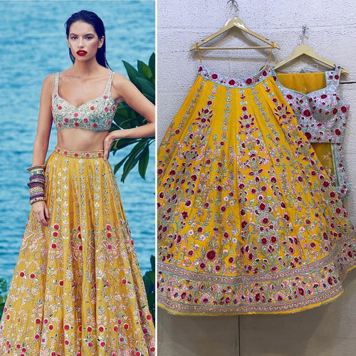 Yellow Wedding Sangeet Haldi Lehenga Set SFINS255SD - Siya Fashions
