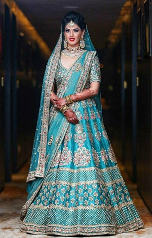 Bridal Indian Blue Wedding Royal Haute Couture Silk Lehenga BRIDAL899 - Siya Fashions