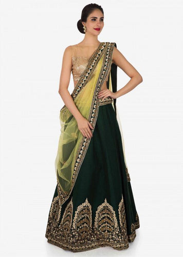 Bridal Dark Green Silk Lehenga Zari Work SFB874 - Siya Fashions