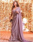 Purple Indian Westen Designer Partywear Sequence Saree With Embroidered Work BOL468YDS - Siya Fashions