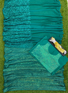 Teal Indian Westen Designer Partywear Sequence Saree With Embroidered Work BOL431YDS - Siya Fashions