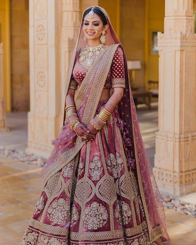 Pastel Pink Bridal Wedding Royal Haute Couture Velvet Lehenga BRIDAL424 - Siya Fashions