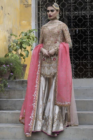 Pakistani Beige Bridal Sharara Suit Dabka Work INS1536