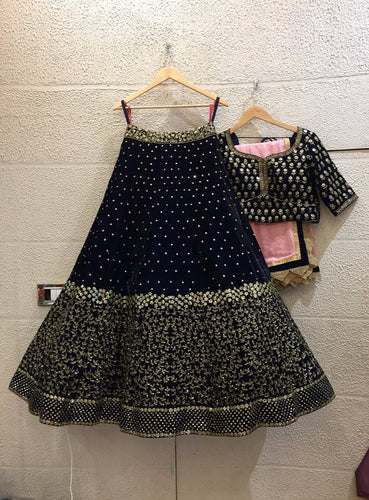 Clients Diary Black Velvet Bridal Lehenga Choli Zardoizi Work SF432 - Siya Fashions