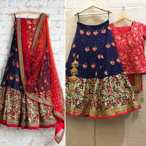 Clients Diary Wedding Lehenga Blue And Red In Net SFIC81 - Siya Fashions