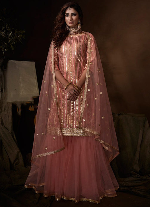 Pink Sangeet Party Net Fully Sequinned Sharara Suit FZ108 - Siya Fashions