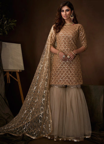 Beige Sangeet Party Net Fully Sequinned Sharara Suit FZ107 - Siya Fashions