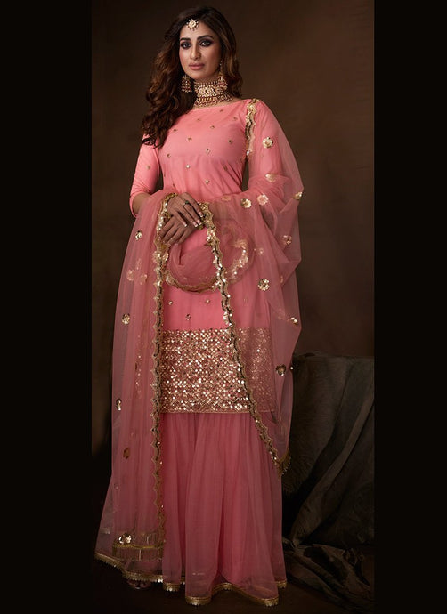 Pink Sangeet Party Net Fully Sequinned Sharara Suit FZ106 - Siya Fashions