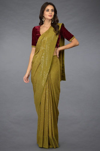 Wedding Saree Olive Green Velvet Top Sequined SIYA782INS - Siya Fashions
