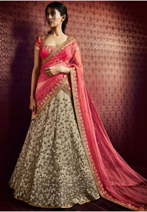 Astounding Beige Pink Indian Wedding Bridal Lehenga In Net FYDS798NK - Siya Fashions