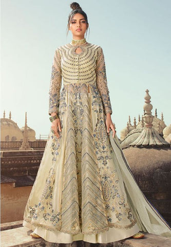 Ivory Wedding Long Lehenga Set In Net Badla Sequin Work SIYA89