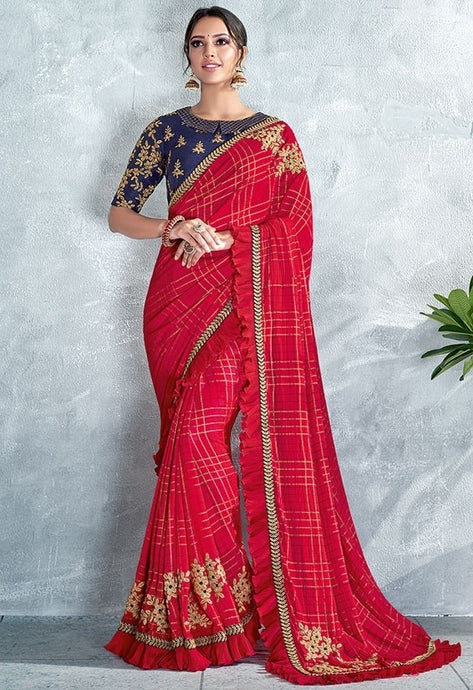 Designer Carrot Red Silk Georgette Saree SF6446Y - Siya Fashions