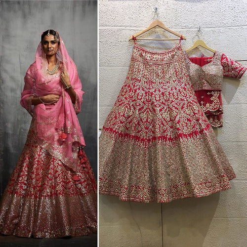 Bridal Red Pink Gold Glamorous Lehenga  SFIN032 - Siya Fashions