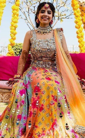 Wedding Haldi Lehenga Set Mirror Work SIYA009DSF - Siya Fashions