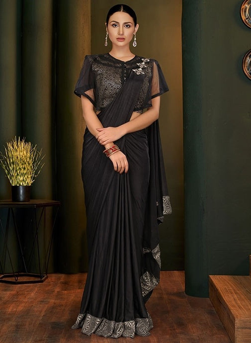 Bridesmaid Designer Evening Lehenga Saree In Black SIYA115YDS - Siya Fashions