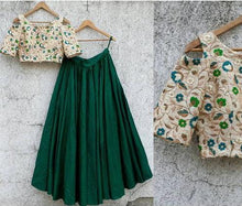 Load image into Gallery viewer, Raw Silk Green Lehenga Crop Top Blouse SF422