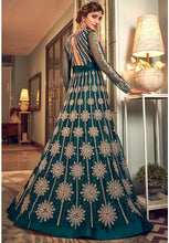 Load image into Gallery viewer, Alluring Teal Anarkali Long Suit In Net Silk Diamond Work SFYDS2083 - Siya Fashions