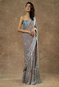 Wedding Cocktail Saree In Matalic Grey SIYA777INS - Siya Fashions