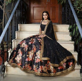 Bridesmaid Indian Designer Black Floral Lehenga Set Organza SFINS0098SD - Siya Fashions