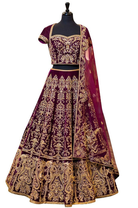 Ponderous Soft Velvet Wedding Lehenga Choli SG074 - Siya Fashions