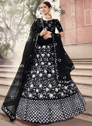 Staggering Black Wedding Reception Lehenga Choli Net FZ43049 - Siya Fashions