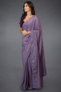 Wedding Saree Purple Velvet Top Sequined SIYA781INS - Siya Fashions