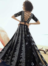 Load image into Gallery viewer, Black Bridal Wedding Reception Net Lehenga Set SF2060FZD - Siya Fashions