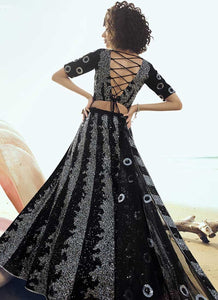 Black Bridal Wedding Reception Net Lehenga Set SF2060FZD - Siya Fashions