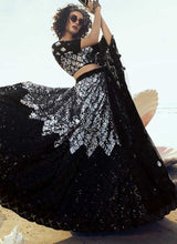 Load image into Gallery viewer, Black Silver Wedding Reception Net Lehenga Set SF2065FZD - Siya Fashions