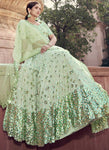 Staggering Pastel Green Wedding Reception Lehenga Choli Net FZ43048 - Siya Fashions