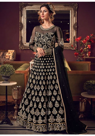 Alluring Black Anarkali Long Gown In Fancy Net With Diamond Work SFYDS2087 - Siya Fashions