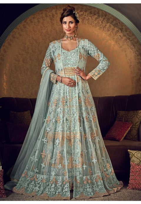 Alluring Blue Anarkali Long Gown In Silk With Diamond Work SFYDS2084 - Siya Fashions