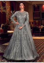 Load image into Gallery viewer, Alluring Charcoal Grey Anarkali Long Suit In Net Silk Diamond Work SFYDS2083