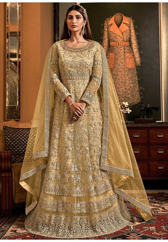 Alluring Gold Beige Anarkali Long Suit In Net Silk Diamond Work SFYDS2082 - Siya Fashions