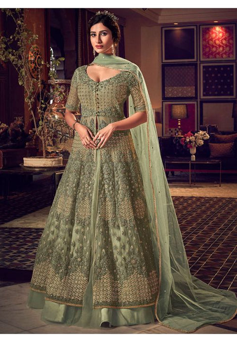 Alluring Green Anarkali Long Gown In Silk With Diamond Work SFYDS2086 - Siya Fashions